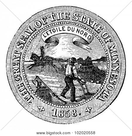 Seal of the State of Minnesota, vintage engraved illustration.   Trousset encyclopedia (1886 - 1891).