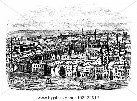 Grand Mosque in Mecca, vintage engraved illustration. Trousset encyclopedia (1886 - 1891).