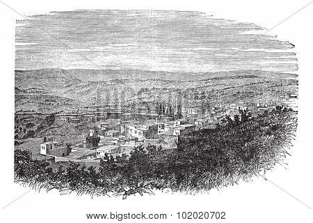 Nazareth in North District, Israel, vintage engraved illustration. Trousset encyclopedia (1886 - 1891).