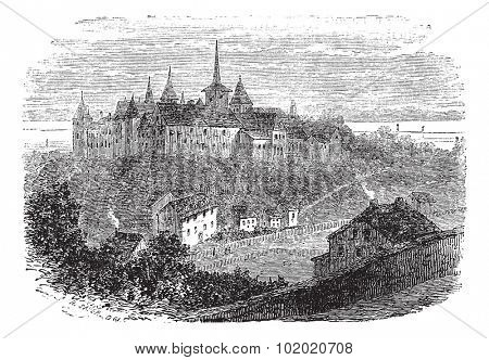 Chateau du Val-Boury in Neufchatel-en-Bray, France, vintage engraved illustration. Trousset encyclopedia (1886 - 1891).