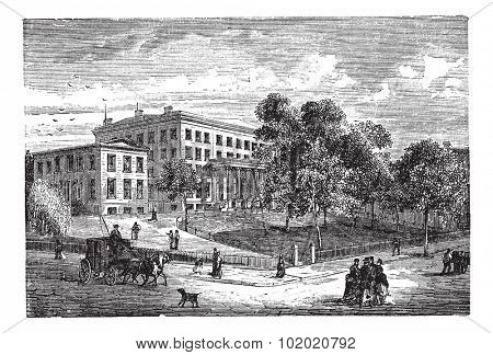 Columbia University in Manhattan, New York City, USA, vintage engraved illustration. Trousset encyclopedia (1886 - 1891).