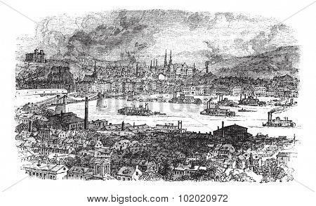 City of Pittsburgh, vintage engraved illustration. River, bridge and buildings at Pittsburgh, Pennsylvania during late 1800s. Trousset encyclopedia (1886 - 1891).