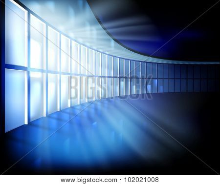 Interior with large window at night. Vector illustration.