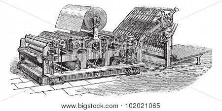 Hoe web perfecting press, vintage engraving. Old engraved illustration of Hoe web perfecting press.  Trousset encyclopedia (1886 - 1891).