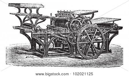 Marinoni  double printing press, vintage engraving. Old engraved illustration of Marinoni double printing press.  Trousset encyclopedia (1886 - 1891).