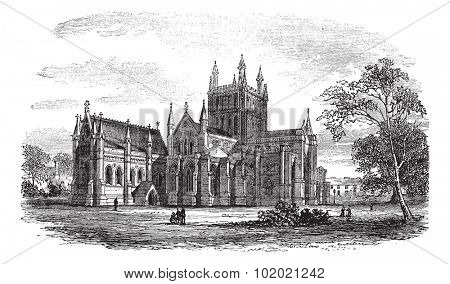 Hereford Cathedral,England vintage engraving. Old engraved illustration of historic hereford cathedral,England, 1800s. Trousset encyclopedia (1886 - 1891).