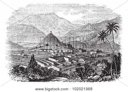 Kabul, city, Afghanistan, old engraved illustration of Kabul, city, Afghanistan, 1890s. Trousset encyclopedia (1886 - 1891).