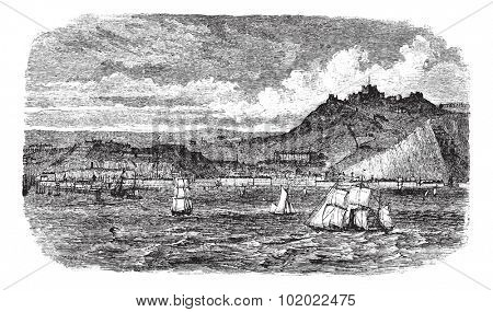 Dover in England, United Kingdom, during the 1890s, vintage engraving. Old engraved illustration of Dover showing ships at sea. Trousset encyclopedia (1886 - 1891).