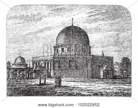 Dome of the Rock in Jerusalem, Israel, during the 1890s, vintage engraving. Old engraved illustration of Dome of the Rock mosque with people in front. Trousset encyclopedia (1886 - 1891).