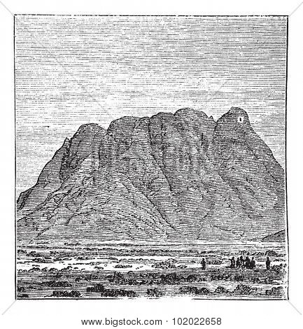 Mount Sinai or Mount Horeb or Mount Musa or Gabal Musa in Sinai Peninsula, Egypt, during the 1890s, vintage engraving. Old engraved illustration of Mount Sinai. Trousset encyclopedia (1886 - 1891).