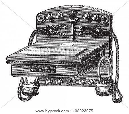 Telephone-Bell Ader, vintage engraved illustration. Trousset encyclopedia (1886 - 1891).