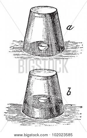 Combustion of Phosphorus in the air. Glass, water and egg shell test, vintage engraved illustration. Trousset encyclopedia (1886 - 1891).