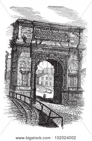 Arch of Titus on Via Sacra, Rome, Italy, during the 1890s, vintage engraving. Old engraved illustration of Arch of Titus. Trousset encyclopedia (1886 - 1891).