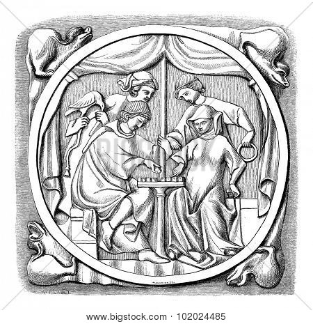 Old engraved illustration of the mirror of fifteenth century- Louvre Museum, Paris ,France, 1874. Drawing by Feart. Le Magasin Pittoresque - 1874.