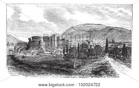 The ruins of Pergamon or Pergamum in Turkey, during the 1890s, vintage engraving. Old engraved illustration of the ruins of Pergamon. Trousset encyclopedia (1886 - 1891).