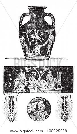 Portland Vase, showing front and back figures (top and center), base (bottom center), and roundels (bottom left and right), vintage engraved illustration. Trousset encyclopedia (1886 - 1891).