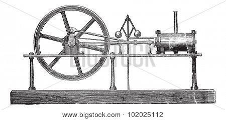 Simple Expansion Steam Engine, vintage engraved illustration. Trousset encyclopedia (1886 - 1891).