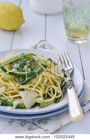 Zucchini Spaghetti alla chitarra, Italian food. Selective focus.