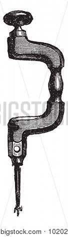 Brace with Bit Drill, vintage engraved illustration. Trousset encyclopedia (1886 - 1891).