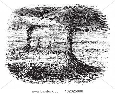 Waterspout, vintage engraved illustration. Trousset encyclopedia (1886 - 1891).