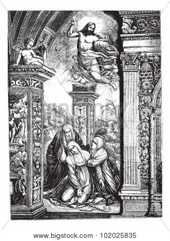 Frescoes in the church of San Domenico in Siena, by Razzi (jumper Sodoma). Drawing by J. Lavee, vintage engraved illustration. Magasin Pittoresque 1874.