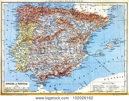 The map of Spain and Portugal with explanation of signs on map from the late 1800s,  Trousset encyclopedia (1886 - 1891).