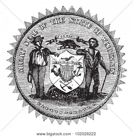 Great Seal of the State of Wisconsin, USA, vintage engraving. Old engraved illustration of Great Seal of the State of Wisconsin isolated on a white background.   Trousset encyclopedia (1886 - 1891).