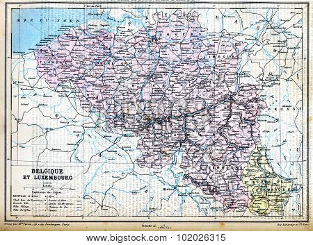 The map of Luxembourg (Belgium) with signs and their explanation from the late 1800s,  Trousset encyclopedia (1886 - 1891).