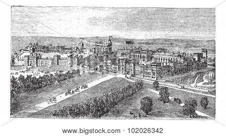 Windsor Castle in Windsor, Berkshire, England, during the 1890s, vintage engraving. Old engraved illustration of Windsor Castle. Trousset encyclopedia (1886 - 1891).