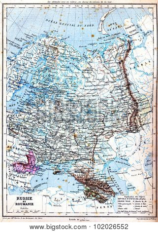 The map of Russia and Romania with explanation of signs on map. Old vintage map from the late 19th century, Trousset encyclopedia (1886 - 1891).