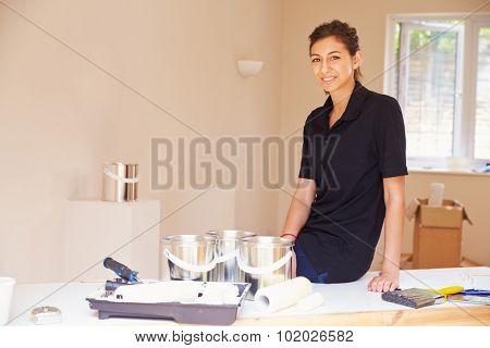 Portrait of smiling female decorator