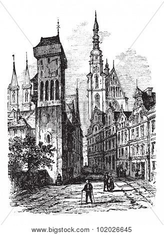 View from a road inside the city of Legnica or Liegnitz, vintage engraved illustration. View from a road inside the city of Legnica or Liegnitz, Poland, in the 1800s. Magasin Pittoresque 1874