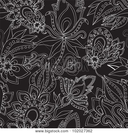 Seamless Paisley Pattern.russian Floral Design. Vector Illustration