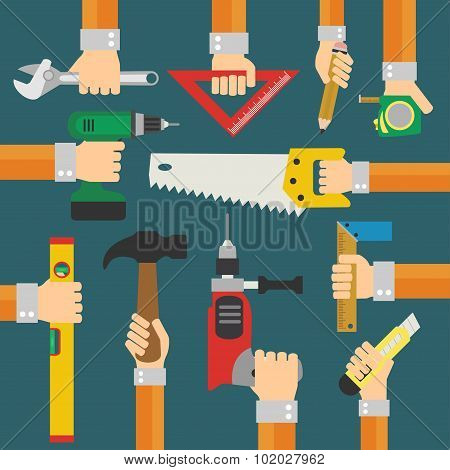 Modern Builders flat background with hand