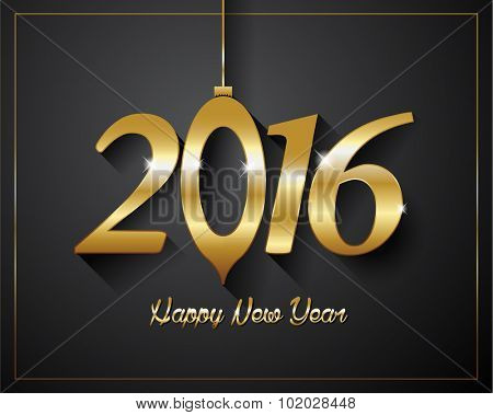 2016  Happy New Year golden letters Flyers, covers, posters and pages on black background