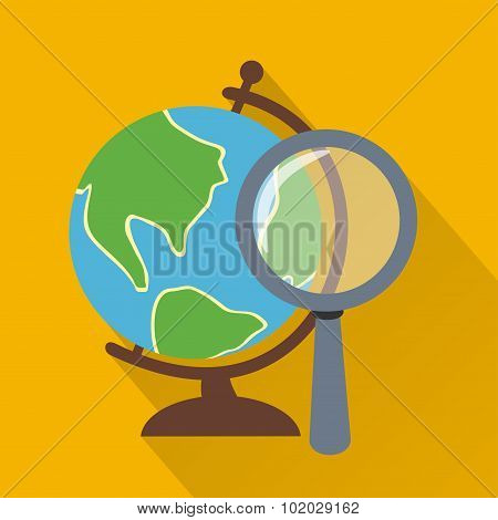 Globe and loupe,modern flat icon with long shadow