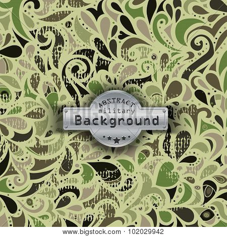 Camouflage military curly decorative pattern background. Vector illustration, EPS