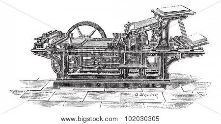 Old engraved illustration of Printing press with one cylinder, this press can print 1000 papers with one side printed in an hour. Dictionary of words and things - Larive and Fleury - 1895