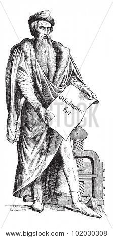 Old engraved illustration of Johannes Gensfleisch zur Laden zum Gutenberg bronze statue by David Hazard. June 24, 1840 in Strasbourg, France.  Dictionary of words and things - Larive and Fleury - 1895