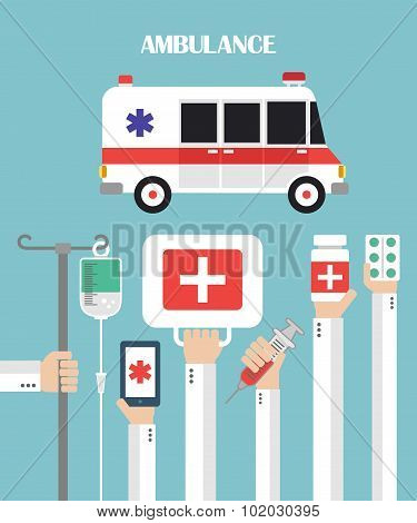 Medical Ambulance Flat background with hand