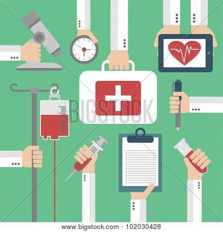 Modern Medical Flat background with hand