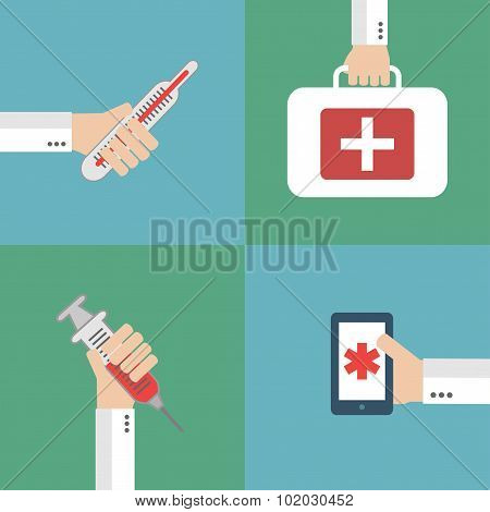 Modern Medical flat set background with hand