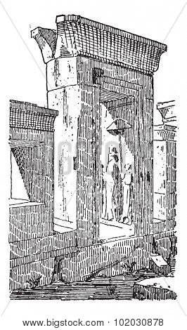 Old engraved illustration of the gate at the palace of Darius in Greece. Dictionary of words and things - Larive and Fleury - 1895