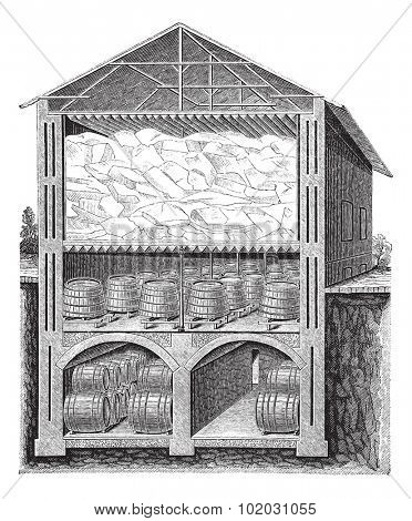 Old engraved illustration of iced beer cellar system of Brainard. Industrial encyclopedia E.-O. Lami - 1875.