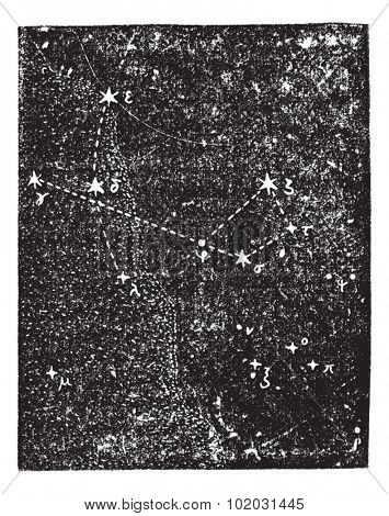 Sagittarius (constellation), vintage engraved illustration. Dictionary of words and things - Larive and Fleury - 1895.