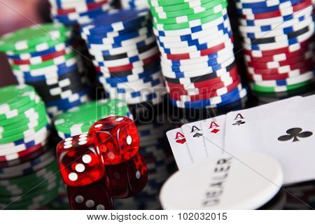 Poker Chips on a gaming concept