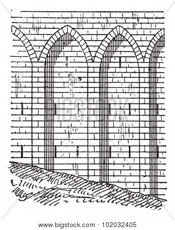 Retaining wall, vintage engraved illustration. Dictionary of words and things - Larive and Fleury - 1895.