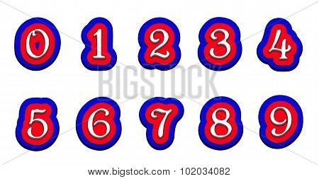 Tricolor Volume Numbers 123456789 On A White Background Isolated.eps