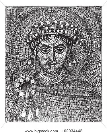Justinian mosaic, vintage engraved illustration. Dictionary of words and things - Larive and Fleury - 1895.