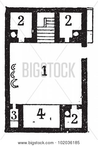 Floor Plan of an Egyptian House, showing (1) courtyard, (2) rooms, (3) latrine, and a (4) shed, vintage engraved illustration. Dictionary of Words and Things - Larive and Fleury - 1895